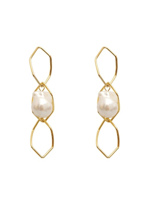 14K  gold Copper Imitation Pearl Hollow Geometric Minimalist Drop Earring