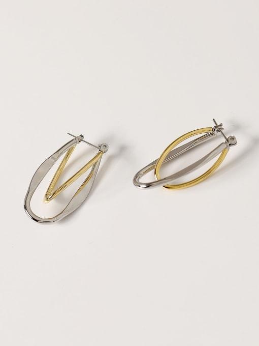 HYACINTH Brass Smooth Geometric Minimalist Drop Earring 3
