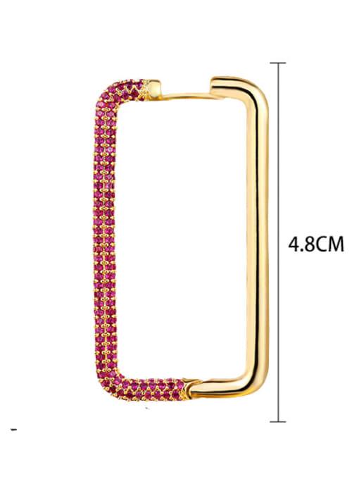 Red Brass Cubic Zirconia Geometric Minimalist Huggie Earring
