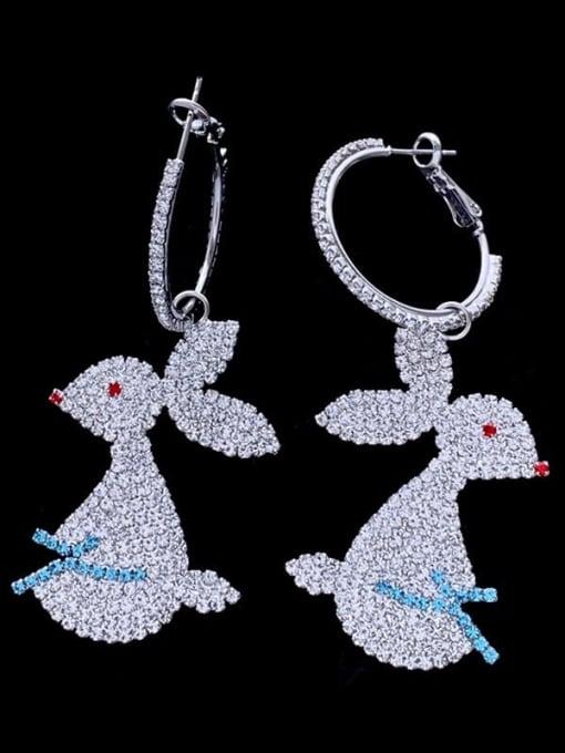 SUUTO Brass Cubic Zirconia Rabbit Luxury Cluster Earring 1