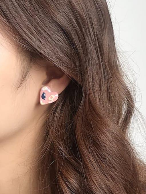 Five Color Alloy Enamel Heart Minimalist Stud Earring 1
