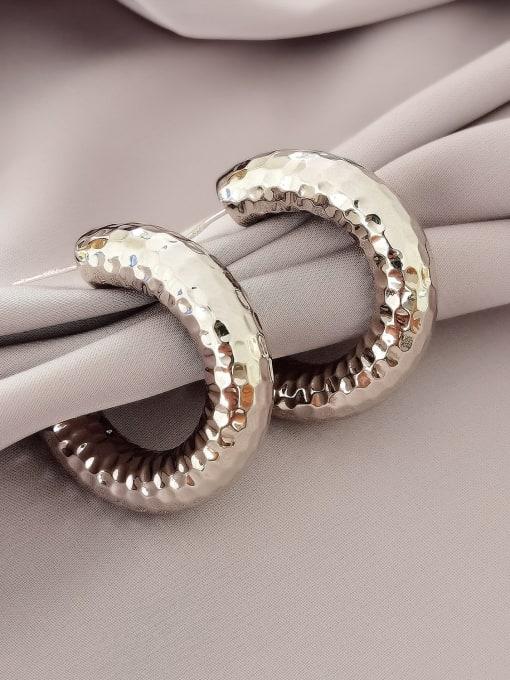 white K Brass Geometric Minimalist Hoop Earring