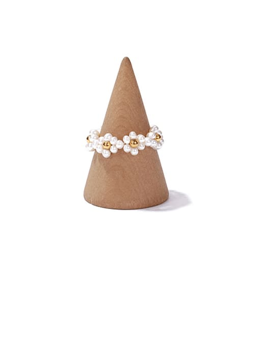 ACCA Brass Imitation Pearl Flower Vintage Band Ring 3
