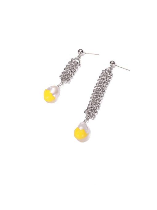 Yellow oil drop Brass Enamel Geometric Vintage Asymmetric Drop Earring