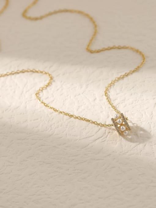 14k Gold Brass Cubic Zirconia Geometric Vintage Trend Korean Fashion Necklace