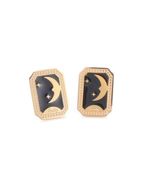 Square Earrings Titanium Steel Enamel Star Vintage Stud Earring