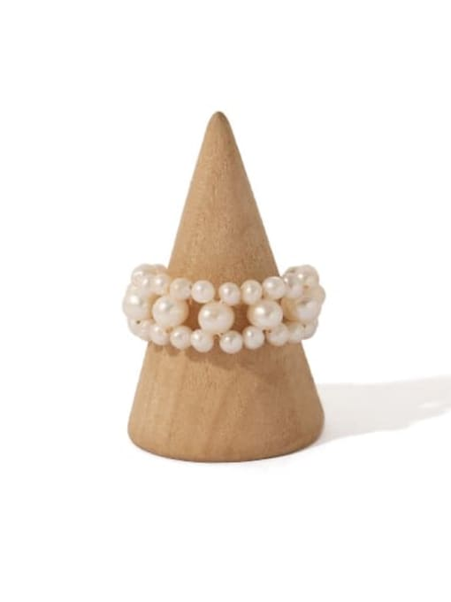ACCA Brass Freshwater Pearl Round Vintage Band Ring 2