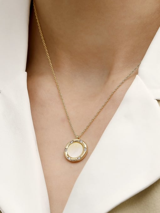 HYACINTH Brass Shell Geometric Minimalist Necklace 1