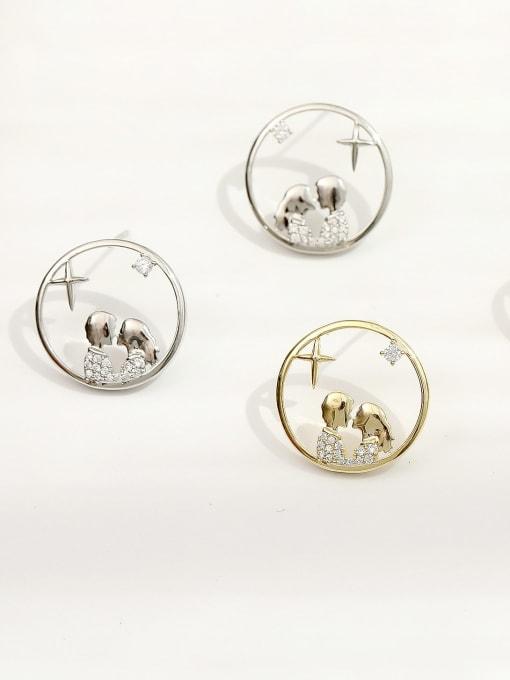 HYACINTH Brass Cubic Zirconia Geometric Hip Hop Stud Earring 2