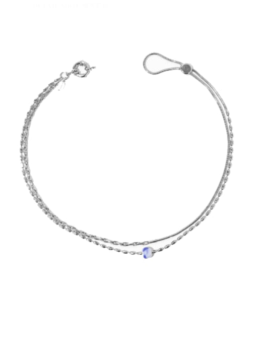Platinum (adjustable) Brass Oval  Bead Vintage Multi Strand Necklace