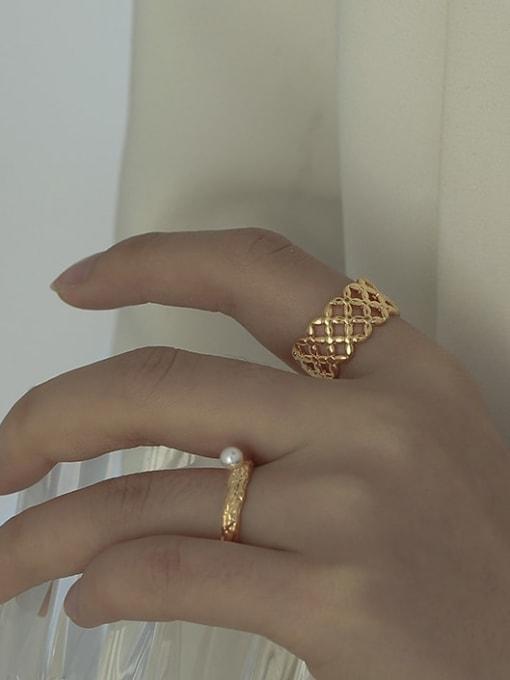 ACCA Brass Imitation Pearl Irregular Vintage Band Ring 0