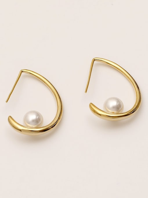 14K  gold Brass Imitation Pearl Water Drop Minimalist Stud Earring