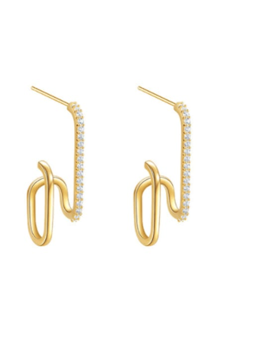 OUOU Brass Cubic Zirconia Geometric Minimalist Stud Earring 0