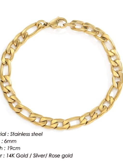 Gold 6mm 19cm Stainless steel Geometric Minimalist Link Bracelet