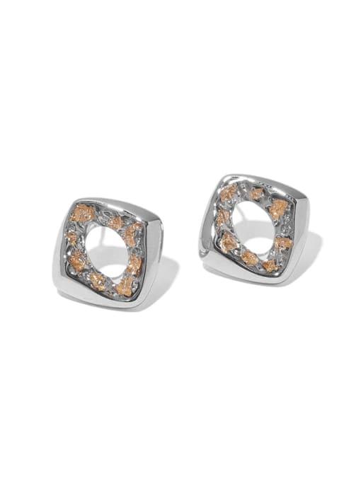 TINGS Brass Rhinestone Geometric Hip Hop Stud Earring