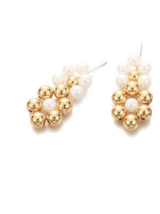 golden Brass Bead Geometric Vintage Drop Earring