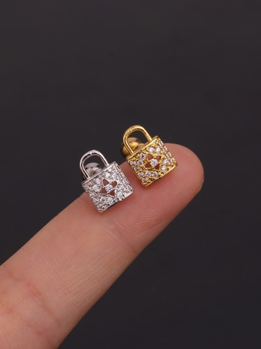 HISON Copper With Cubic Zirconia White Key Dainty Stud Earring 4