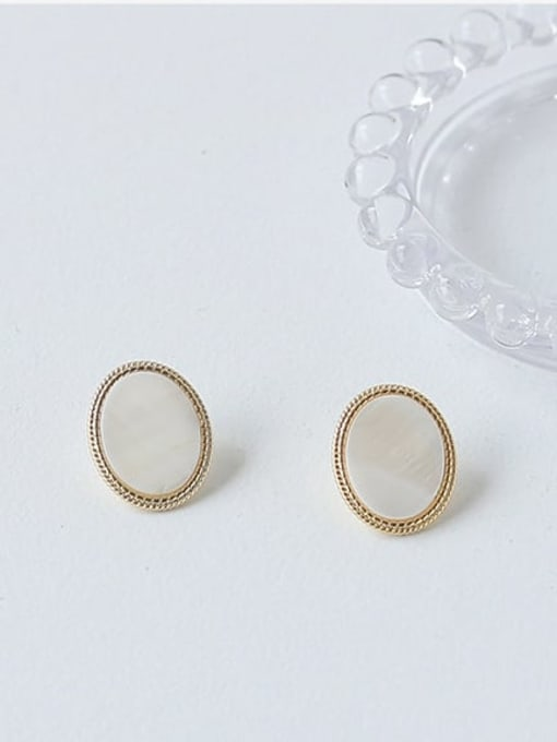 ACCA Brass Shell Geometric Vintage Stud Earring 3