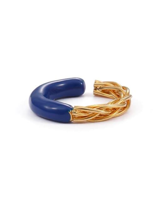 Wire Brass Enamel Star Minimalist Band Ring