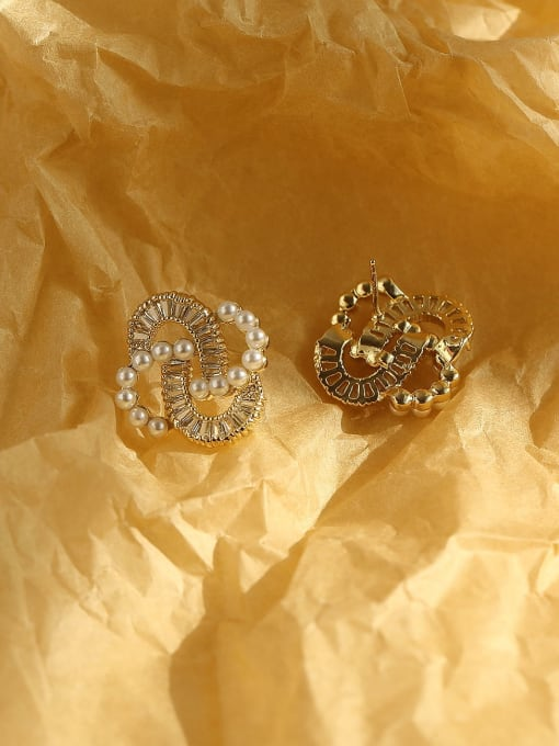 HYACINTH Brass Cubic Zirconia Irregular Vintage Stud Earring 3