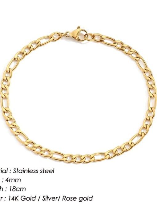 Gold 4mm 18cm Stainless steel Geometric Minimalist Link Bracelet