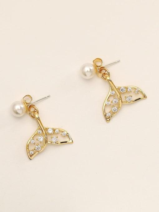 14K gold Brass Cubic Zirconia Geometric Cute Stud Earring