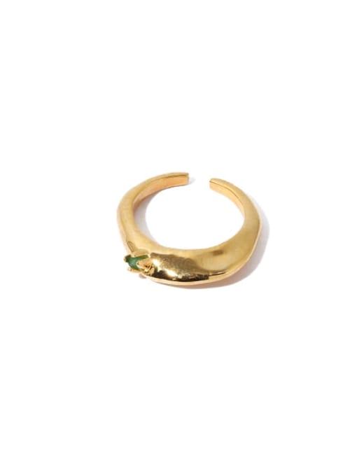 golden Brass Cubic Zirconia Geometric Hip Hop Band Ring