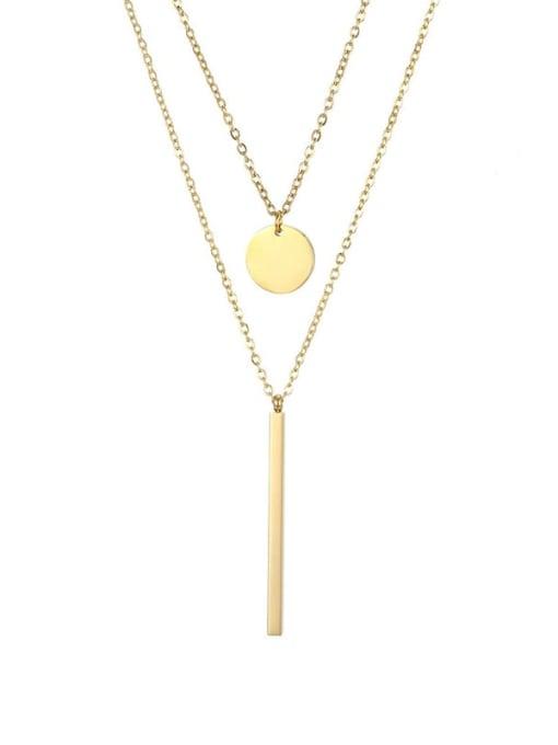 golden Titanium Steel  Minimalist Geometric Pendant Multi Strand Necklace