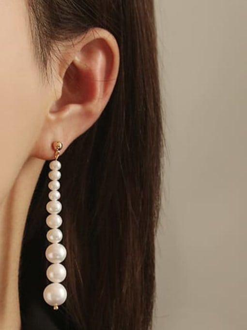 ACCA Brass Freshwater Pearl Tassel Vintage Drop Earring 1