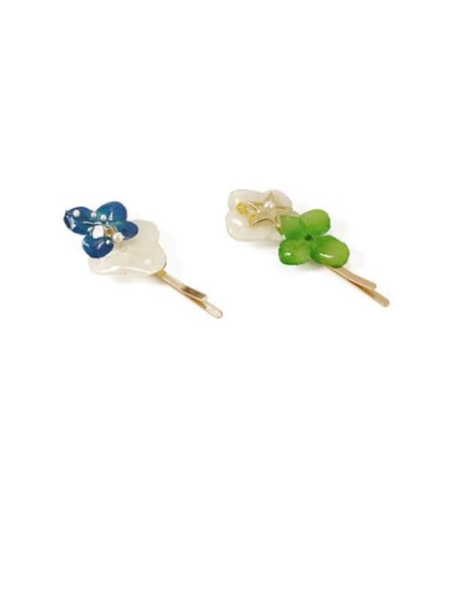 Five Color Alloy Enamel Cute Flower  Hair Pin 3