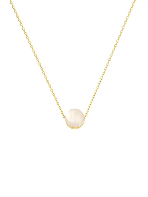 HYACINTH Brass Cats Eye Round Minimalist Necklace 0