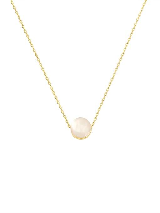 HYACINTH Brass Cats Eye Round Minimalist Necklace