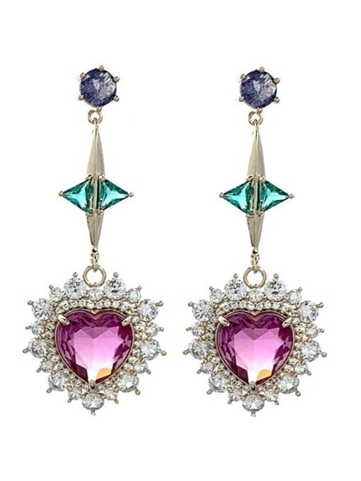 SUUTO Brass Cubic Zirconia Heart Luxury Drop Earring 3