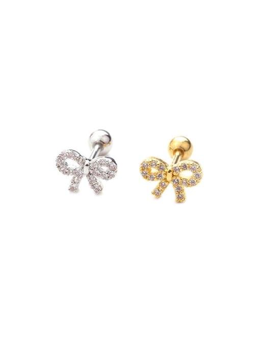 HISON Brass Cubic Zirconia Bowknot Cute Stud Earring(Single) 3