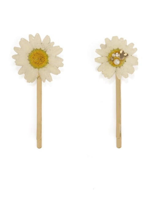 Five Color Alloy Imitation Pearl Minimalist Flower  Hair Pin 1