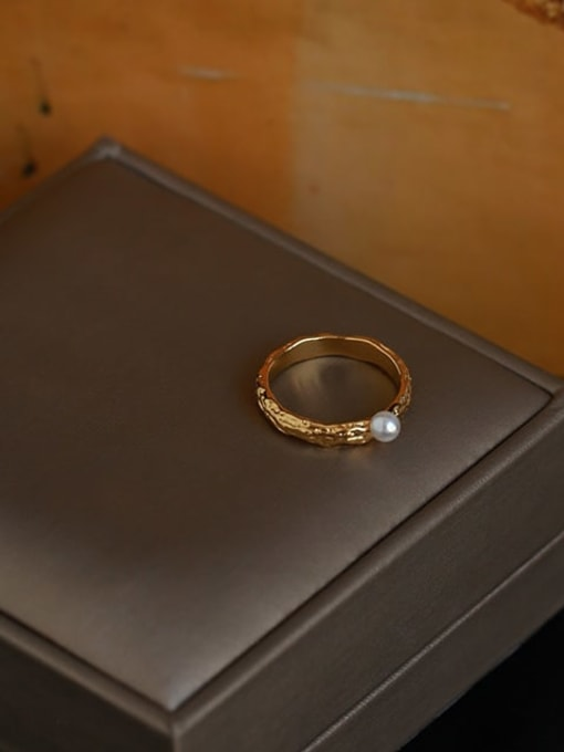 Five Color Brass Imitation Pearl Irregular Vintage Band Ring 2