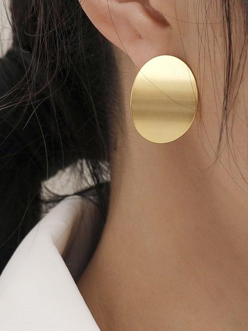 HYACINTH Brass Smooth Geometric Minimalist Stud Trend Korean Fashion Earring 1