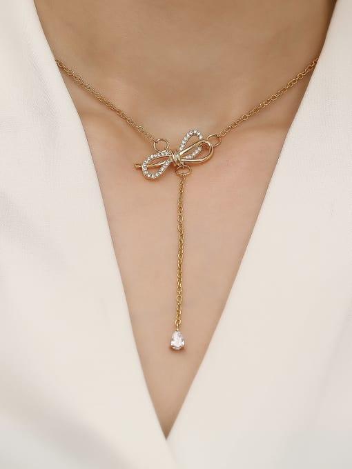 HYACINTH Brass Cubic Zirconia Bowknot Vintage Tassel Trend Korean Fashion Necklace 1
