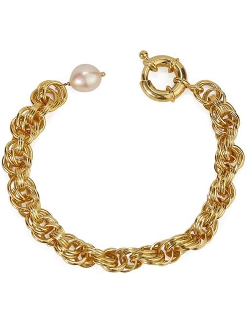 golden Brass Imitation Pearl Geometric Vintage Link Bracelet