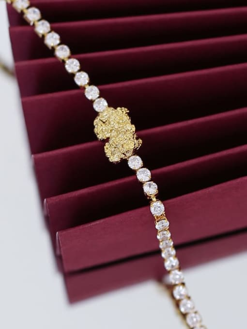 Five Color Brass Cubic Zirconia Geometric Hip Hop Bracelet 3