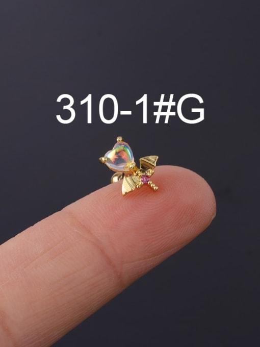 1 gold (Single) Brass Cubic Zirconia Geometric Hip Hop Stud Earring