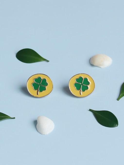 Five Color Alloy Enamel Clover Cute Stud Earring 0