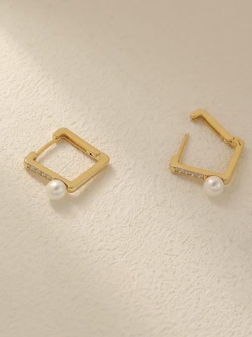 HYACINTH Brass Imitation Pearl Geometric Vintage Stud Trend Korean Fashion Earring 2