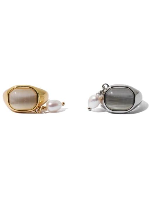 TINGS Brass Cats Eye Geometric Vintage Single No pierced ear clip 4