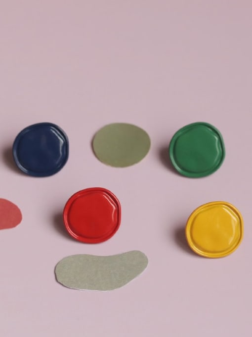 Five Color Alloy Enamel Round Cute Stud Earring 0