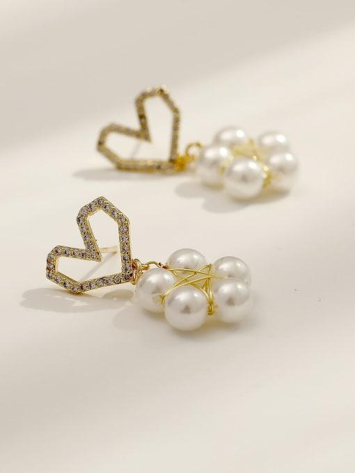 HYACINTH Brass Imitation Pearl Heart Cute Drop Earring 3