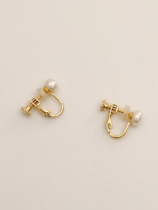 14K gold Brass Imitation Pearl Geometric Ethnic Clip Earring