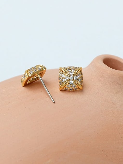 Five Color Brass Cubic Zirconia Geometric Minimalist Stud Earring 1
