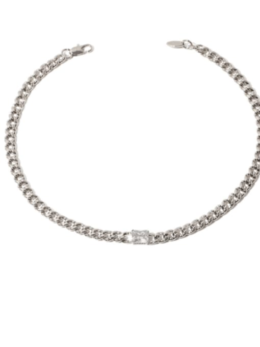 Transparent zircon Brass Cubic Zirconia Geometric Vintage Necklace
