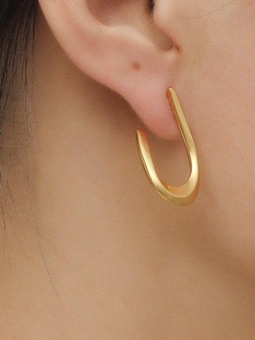 HYACINTH Brass Smooth Geometric Vintage Stud Trend Korean Fashion Earring 1